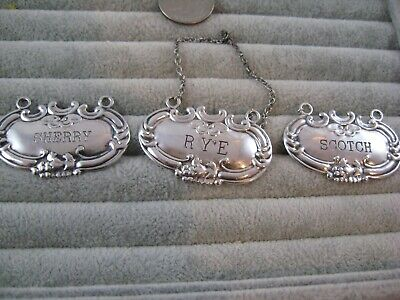 SET of 3 Vintage WALLACE SOLID STERLING SILVER DECANTER LABEL TAGS