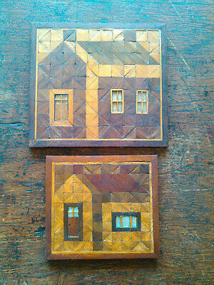 Set of 2 Vintage Square Wooden Trivets with house scene made by James H. Miller