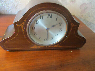 antique EDWARDIAN INLAID MAHOGANY MANTEL CLOCK/poss FRENCH MOVEMENT