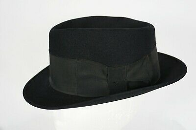 VTG Stetson Rothschild Royal De Luxe Black Lancer Felt Fedora Hat Sz 7 1/4