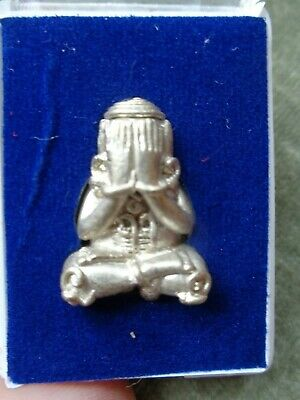 "Presentation  Thai Temple Cased   Buddha Phra Pidta ""blessing""  Amulet Charm"