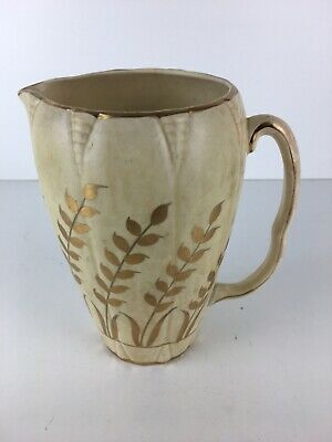 Vintage Arthur Wood Ceramic Cream & Gold Water Jug Pattern 3630