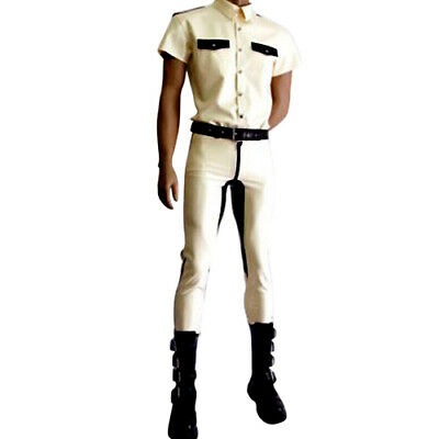 Latex Catsuit Gummi 100% Rubber Sports Tights Wet look White with Black S-XXL