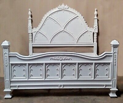 Mahogany 6' Super King Gothic Ecclesiastic Style Bed Antique White New 2nd