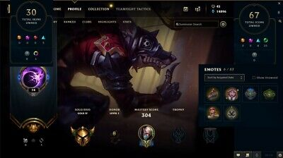 LEAGUE OF LEGENDS Account - 304 Skins , All Champions - Rare