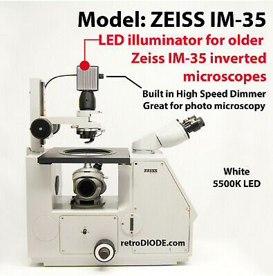 LED retrofit Kit with dimmer control for older ZEISS IM35 microscopes.