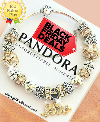 Authentic Pandora Bracelet Silver Bangle Love Story with Golden European Charms