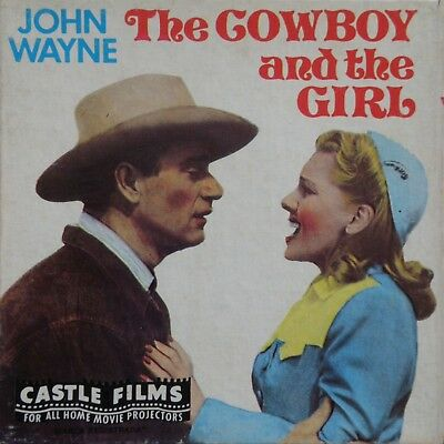 "THE COWBOY AND THE GIRL JOHN WAYNE CASTLE FILMS STD 8MM 5""B&W HOME MOVIE No.5005"