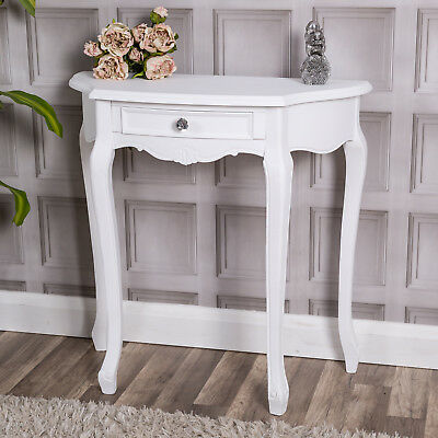 White Wooden Half Moon Round Hall Table Side End Pretty Console Ornate Hallway