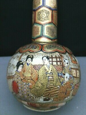 High Quality  impressive 19th Old Antique Japanese Satsuma Vase - hand painted