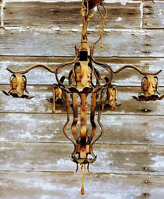 Antique Art Deco Hanging Copper Gilt Flower Lamp With Amber Glass Crystals
