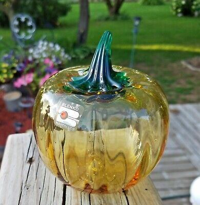 Blenko Apple Paperweight Amber Art Glass Vintage Mid Century Modern Fruit