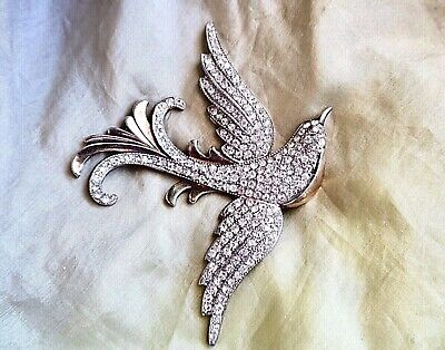 Rare Large Vintage Sterling Silver Art Deco Nouveau Crystal Bird Brooch Pin