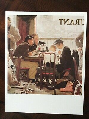 """1977 VINTAGE /""""SAYING GRACE/"""" by NORMAN ROCKWELL MINI POSTER Color Lithograph"""