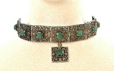 1940's Chinese Sterling Silver Chrysoprase Hardstone NOT JADE Necklace Choker