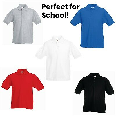 Fruit Of The Loom Polo Shirt Boys Girls Kids School PE T-Shirt Tee Ages 3 To 13