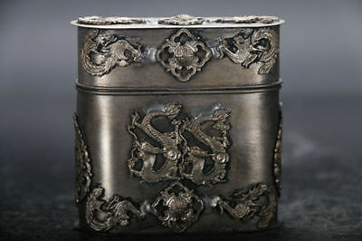 Chinese old copper plating silver hand carved dragon Tobacco box b01