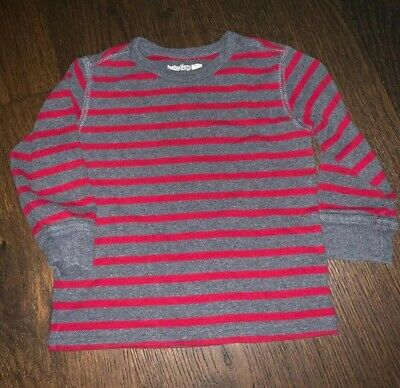 Baby Gap Boys 18-24 Months Red/Gray long Sleeve Striped Shirt/Top