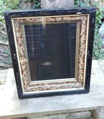 Antique Victorian Shadow Box Frame Eastlake 3 Tier Gilt Carved Hinged Latch 8x10