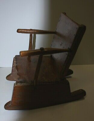 antique primitive child doll CHAIR rustic early American rocking