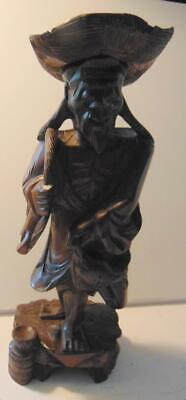 """Vtg Asian Oriental Man Wood Carved Statue Sculpture w/2 Fishes 12 1/2"""""""