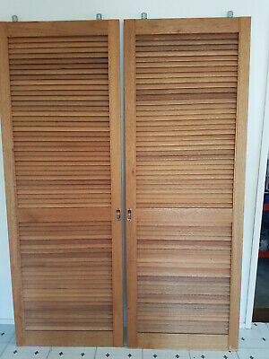 2 Tall wooden Louvre Timber Sliding Doors in excellent condition