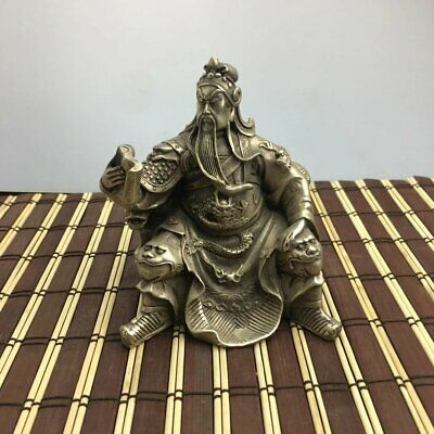 chinese old hand-carved copper-plating silver Guan yu Read Book statue d02