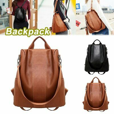 Women's Leather Backpack Anti-Theft Rucksack School Shoulder Bag Black/Brown #T