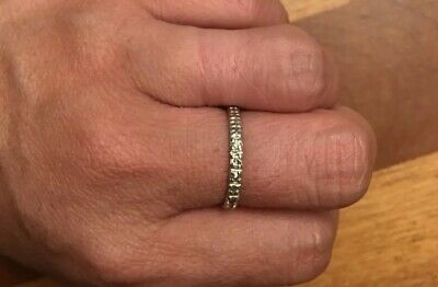 Antique 18K Solid White Gold 0.15 TCW Genuine Diamonds Wedding Band Ring 6.25