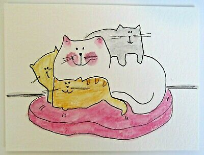 ACEO Original Watercolor Cat Pillow Snuggles Kittens Signed by Artist MiloLee