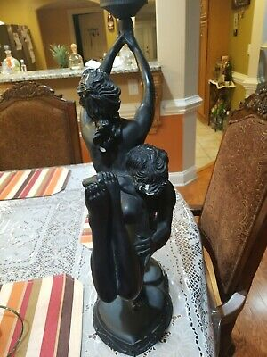 Art Deco Resin Large Nude Woman And Man Dancing Holding Globe Ball Table Lamp