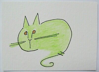 ACEO Original Watercolor Cat Green Simple Lines Plain Kitty by Artist MiloLee