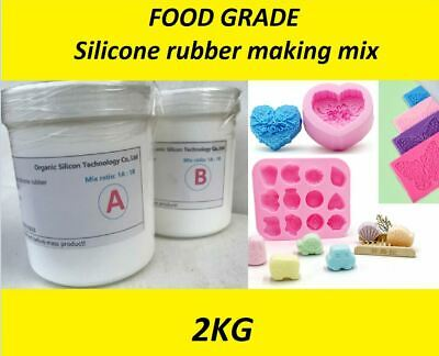 FOOD GRADE Silicone Rubber Mould making Mix 2KG 1:1 White Cakes, soap, fishing