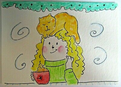 ACEO Original Watercolor Cat Woman Coffee Hot Chocolate Cup Best Perch MiloLee