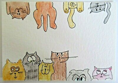 ACEO Original Watercolor Cat Hanging Out Cats Kitties Signed by Artist MiloLee