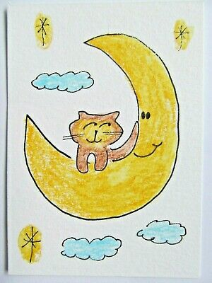 ACEO Original Watercolor Cat on the Moon Stars Kitty Signed by Artist MiloLee