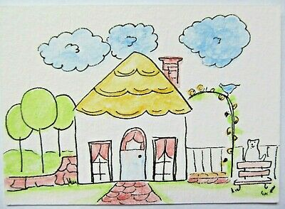 ACEO Original Watercolor Cat Little House with Clouds Signed by Artist MiloLee
