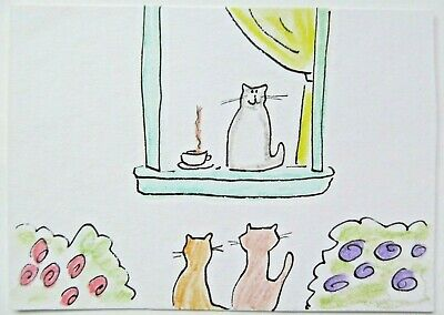 ACEO Original Watercolor Cats Coffee and Cat Friends Signed by Artist MiloLee