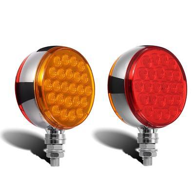"4"" Red D3S2 Amber Double Face Turn Signal Lamp Pedestal Mount 12 Volt"