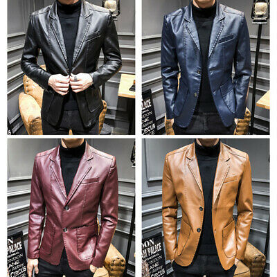 New Mens PU Leather Lapel Blazer Jacket Waist Length Slim Fit Coats Motor Casual