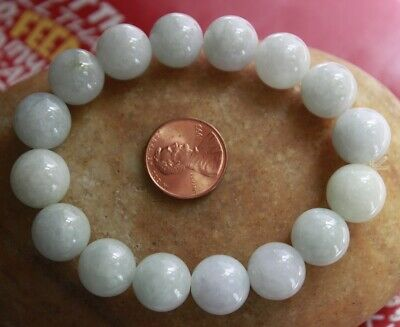 100% Natural Jade Grade A Beautiful Untreated Light Green White Jadeite Bracelet