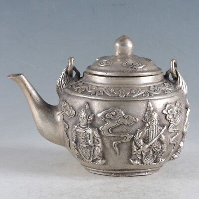 Chinese Old Copper Silvering handmade Five God of Wealth Teapot wine pot