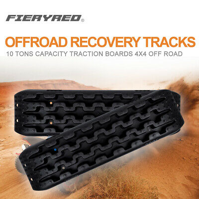 FieryRed Black Recovery Track Traction Board Off Road Sand Snow Safety Emergency