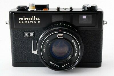 Minolta Hi-Matic E Black 40mm f/1.7 Rangefinder Film Camera [As is] #476747A