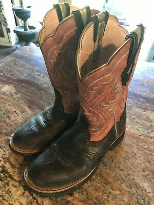93595324d28 ARIAT LADIES FATBABY Black Turquoise Zebra Short Western Boots Size ...