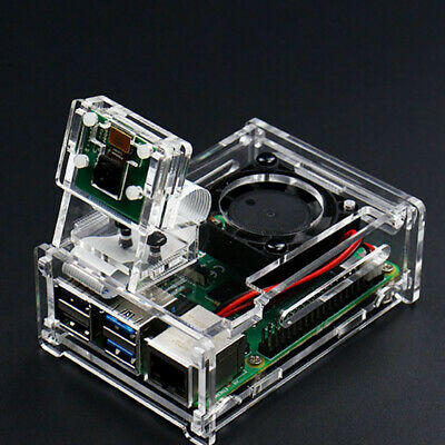 "For Raspberry Pi 4 Model B Acrylic 3.5"" LCD Case Enclosure Box with Cooling Fan"