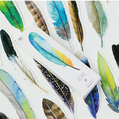 30Pcs/lot Creative Colorful Feather Paper Bookmark School Students Stationery