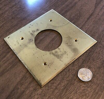 Massive forged brass antique vtg 220 stove outlet cover plate sharp beveled edge