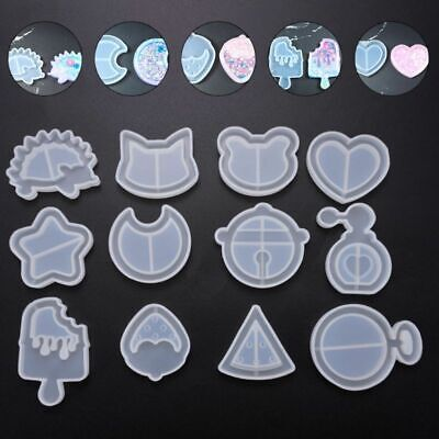 12X Crystal Epoxy Silicone Mold Pendant Mold Quicksand Star Moon Cat Model Mould