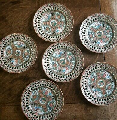 Antique Chinese Set of Six Famille Rose Canton Pierced Plates